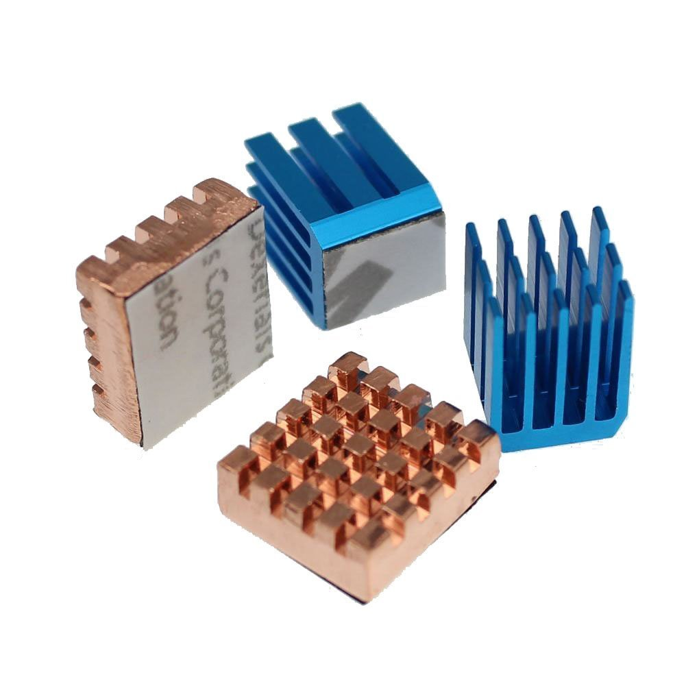 Gdstime Copper Aluminium Cooling Heatsink for Raspberry Pi B+ & Raspberry Pi 2 Rpi Set of 4 Heat Sinks