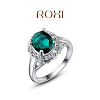 ROXI Wholesale Fashion Blue Zircon Prong Setting gold plated wedding Ring