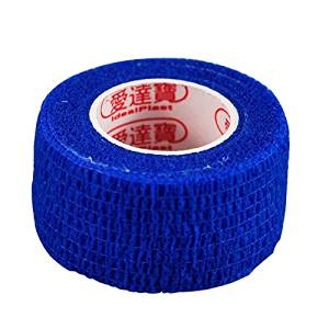 Pack of 3 Rolls Waterproof Self Adhesive Bandage Tape Finger Joints Wrap Sports Care (1inch*6yds, Blue)