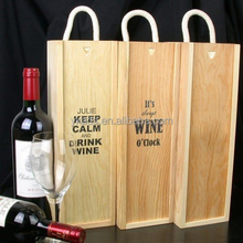 Rectangular handmade wooden box for wine
