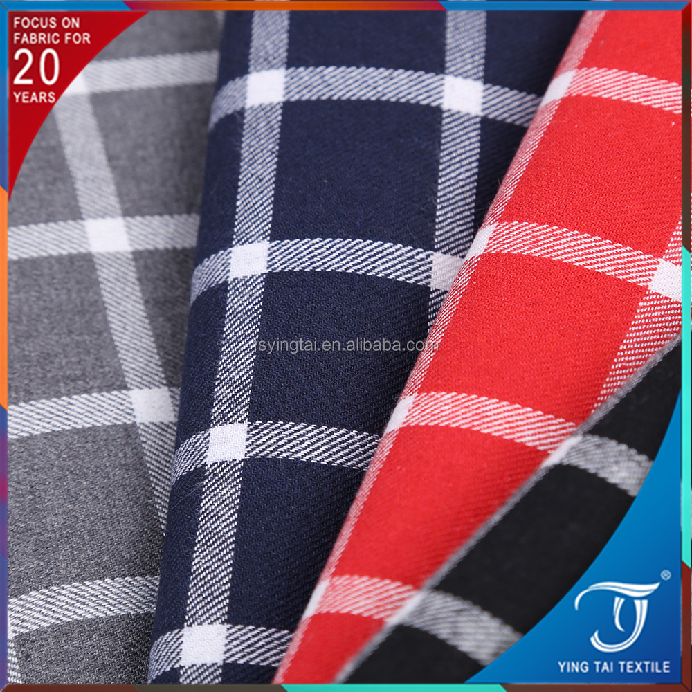 Plain woven 100 cotton fabric many colors check design flannel for shirt