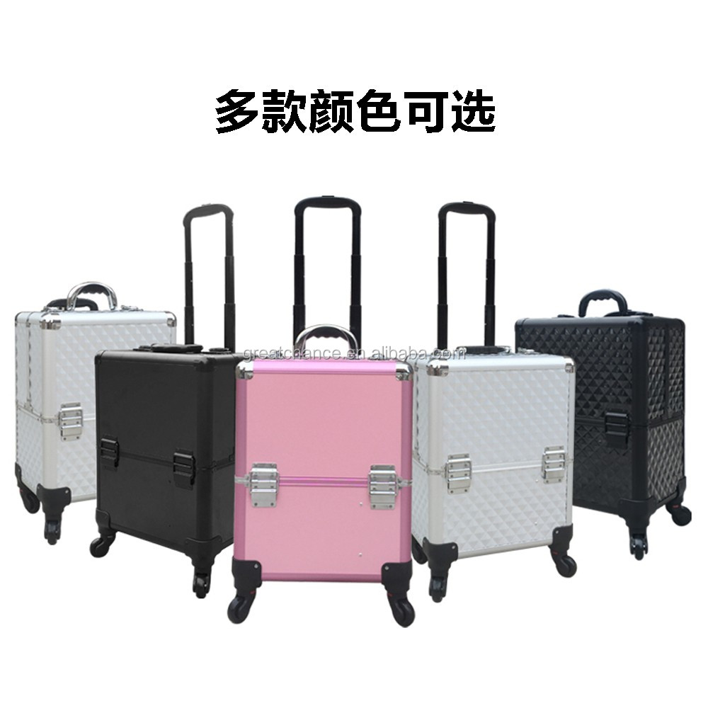 Professional Make-up Trolley Vanity Case Black Silver