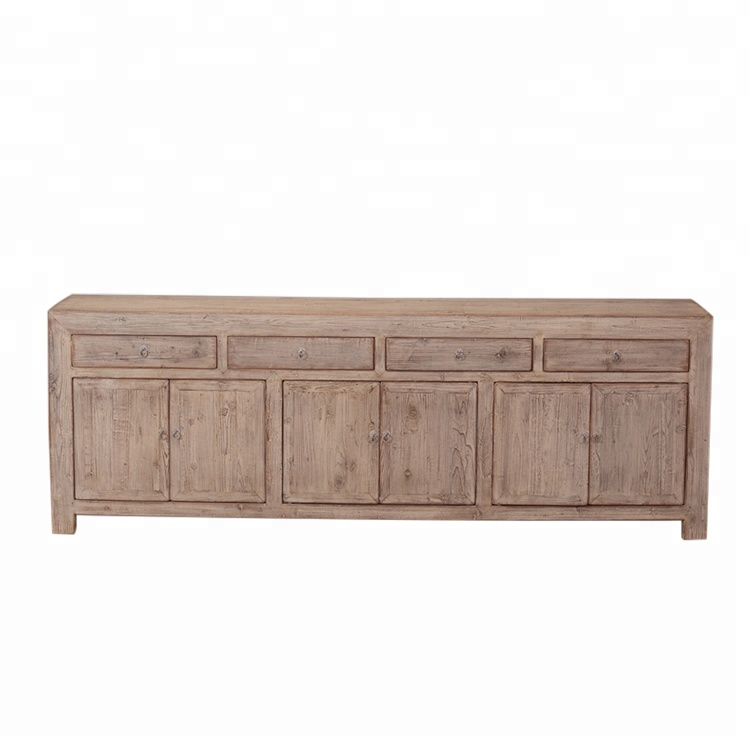 Old Used Style Asian Antique Furniture 4 Doors Sideboard Cabinet