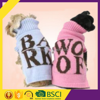 100% quality acrylic yarn 7GG knitted BARK and WOOF style xxl online shop bulk dog sweater