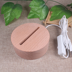 Lamp Base Wood Wood Lamp Base Factory Price Nordic Solid Wood Imported Beech 3D Table Battery Light LED Lamp Base Etch