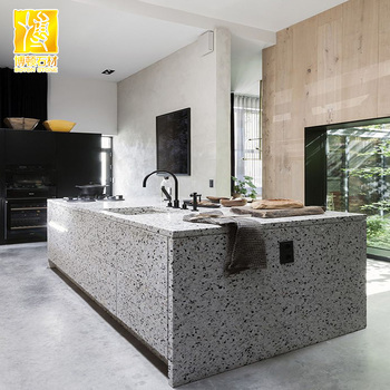 Accepted Custom Grey Stone Terrazzo Kitchen Cabinet Table Top