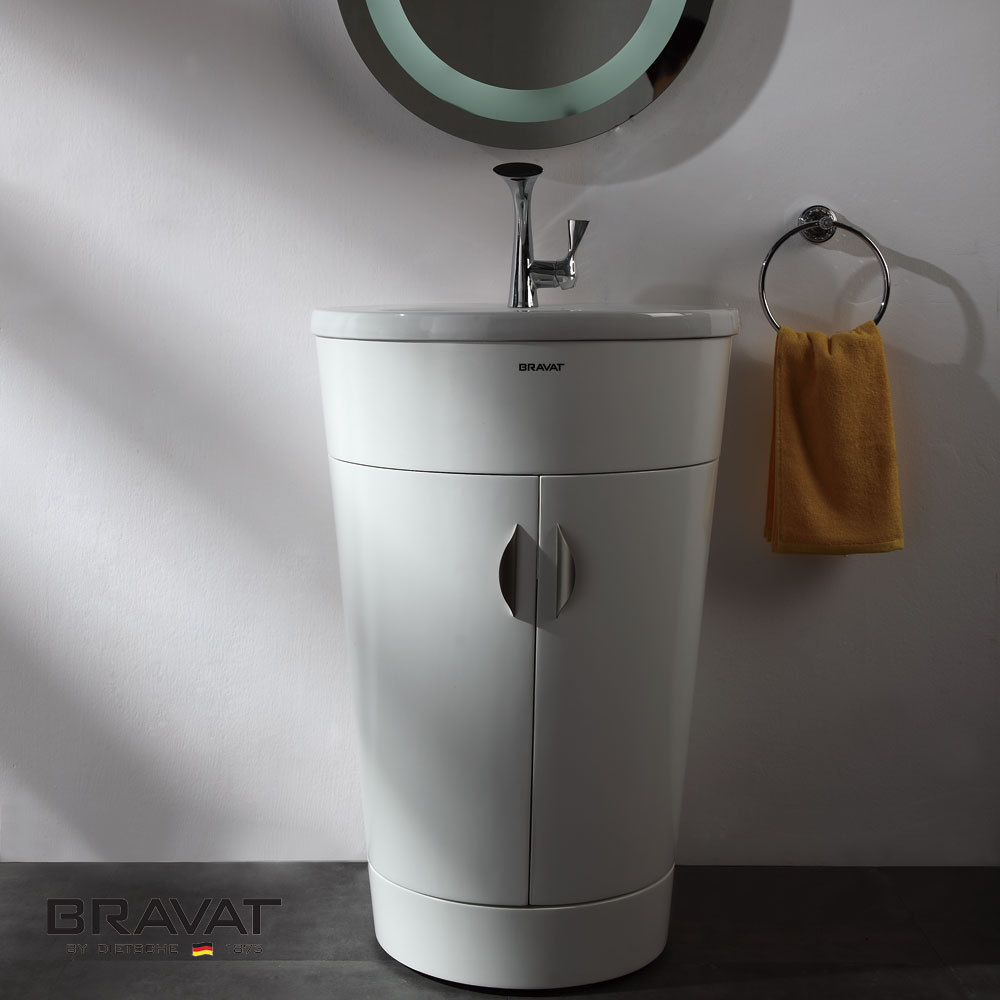 600mm Tall Cabinet With Round Led Light Mirror Round