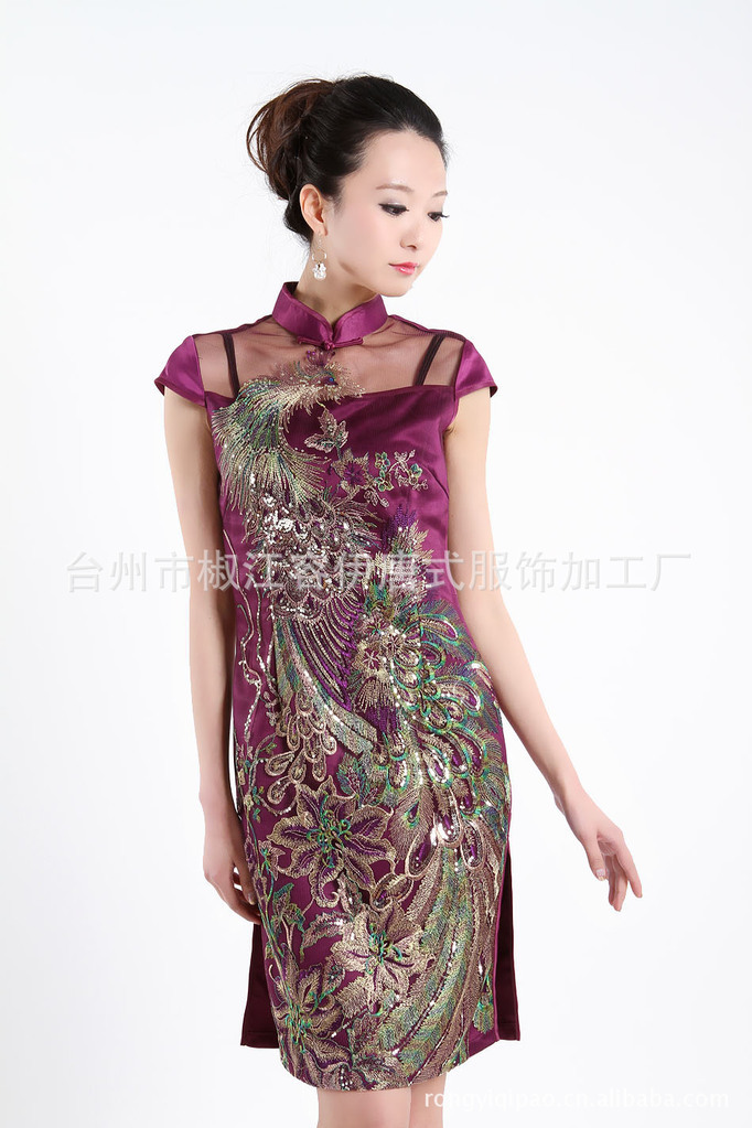 c587eed2e Get Quotations · Purple Fashion Qipao Chinese Women's Clothing Cheong-sam Mini  Qipao Dress phoenix S M L XL XXL