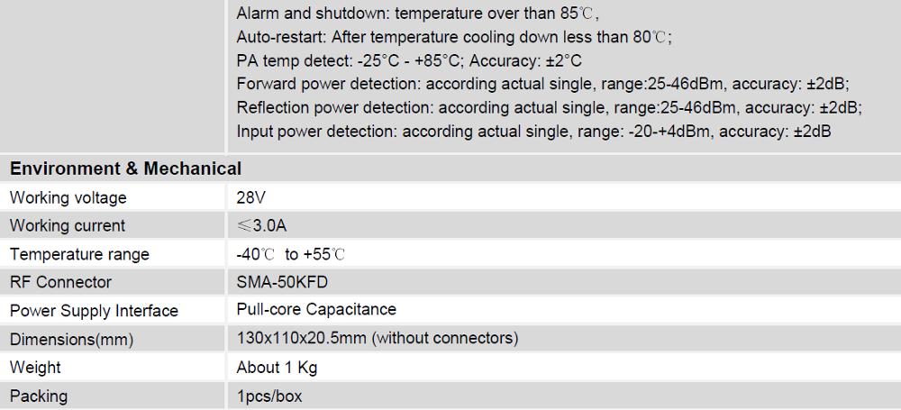 Digital Uhf Tdd Lte 20 Watt High Power Wcdma Rf Power Amplifier