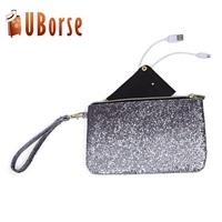 Fashion style custom flash real leather lady handbag with power bank