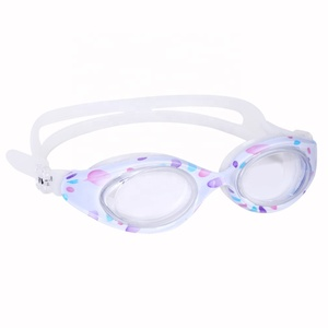 Cartoon cute frame adjustable rubber headband kids swimming tempered goggle