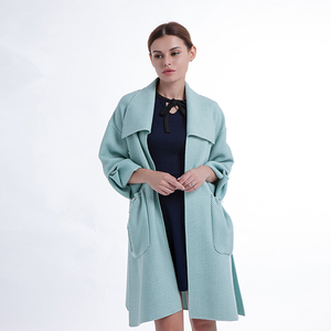 2018 new Korean thousand birds lattice blue medium long a-line cashmere outside coat