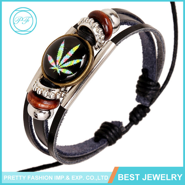 Handmade leather bracelet designs italian time gem maple leaf leather bracelets for men