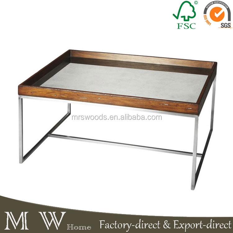 MW Home mirrored glass tray top and stainless steel metal glass coffee table