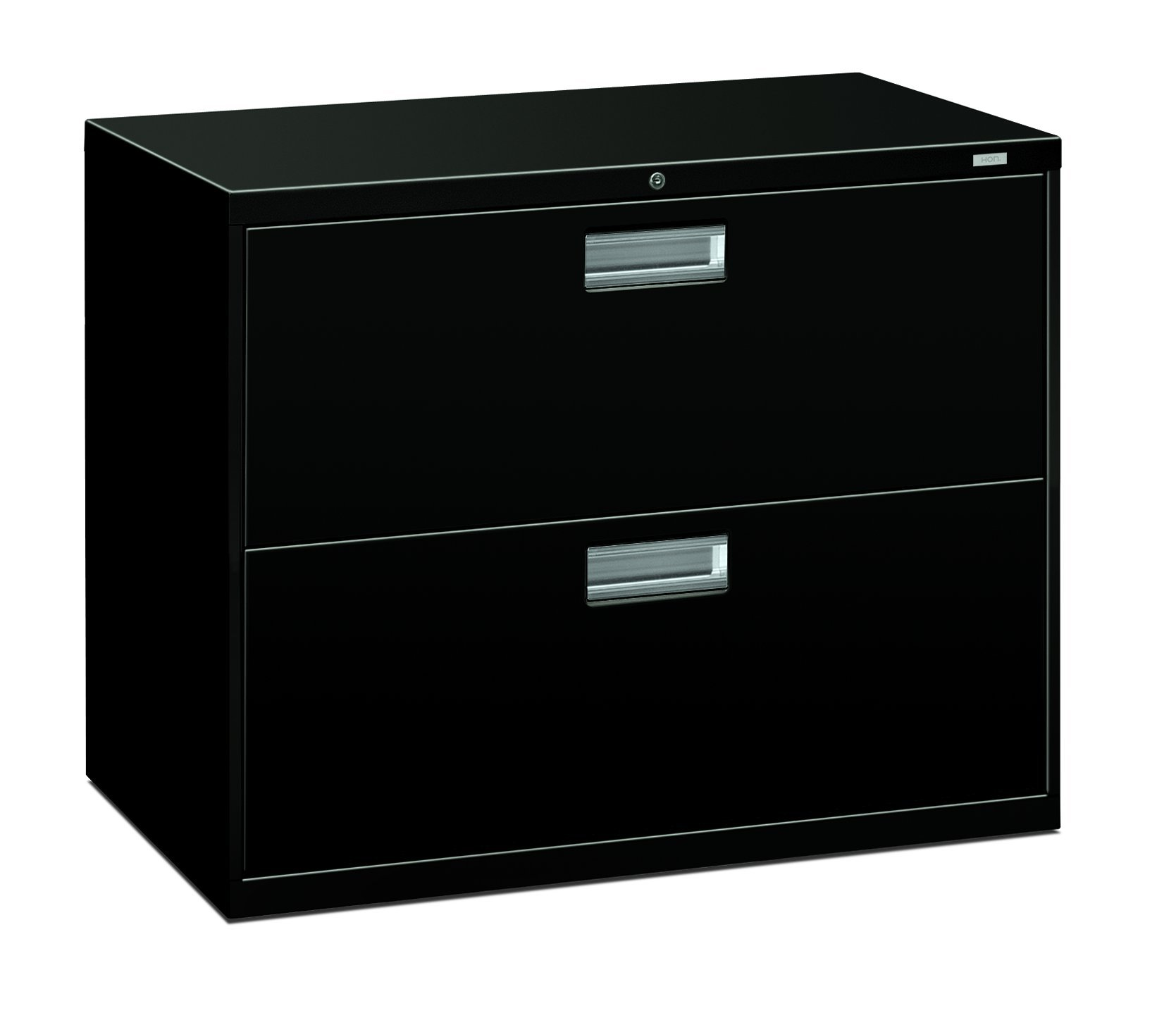 HON 2-Drawer Filing Cabinet - 600 Series Lateral Legal or Letter File Cabinet, Black (H682)