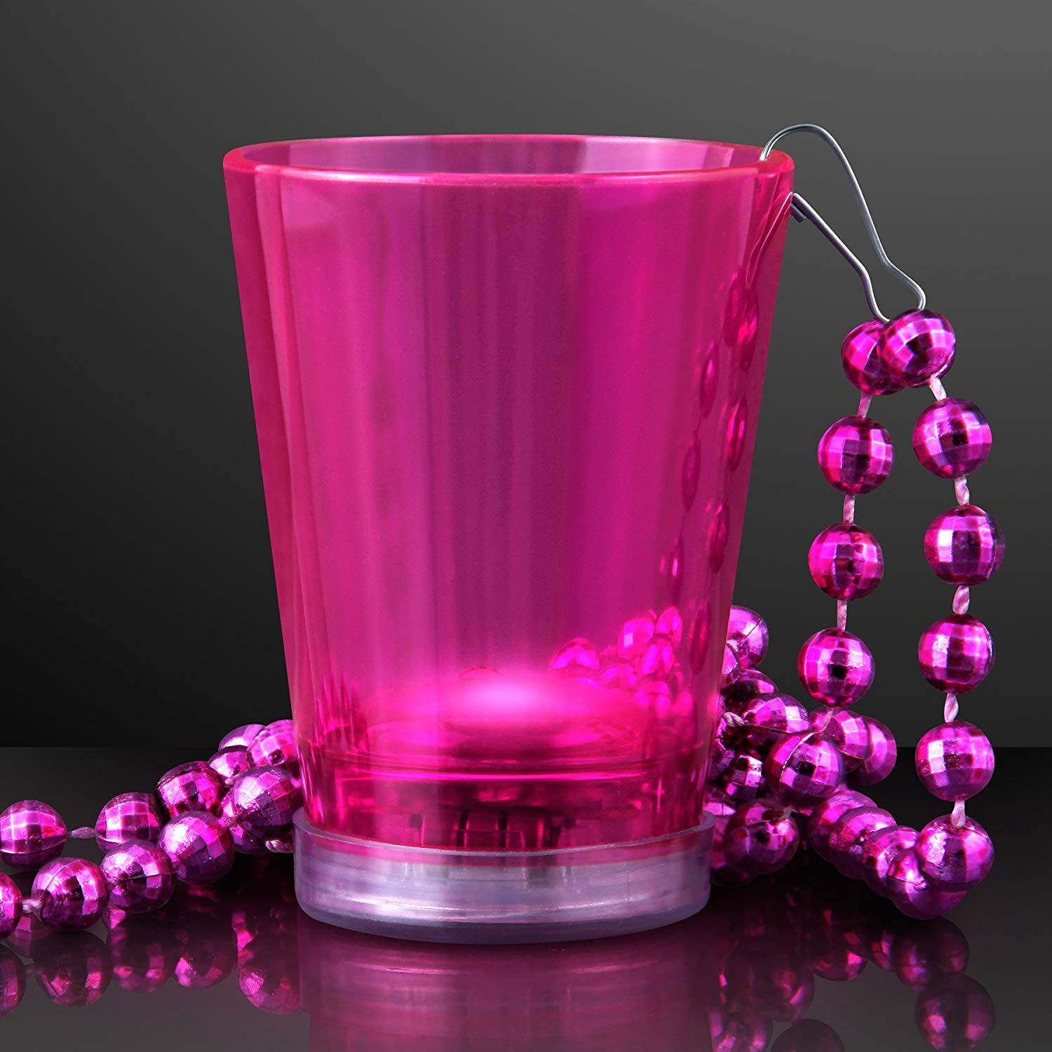 Pink Light Up Shot Glass on Party Bead Necklace (Set of 4)