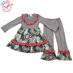 Baby girls boutique toddler cotton clothing sets fall winter outfit wholesale Sue lucky children's fashion clothing