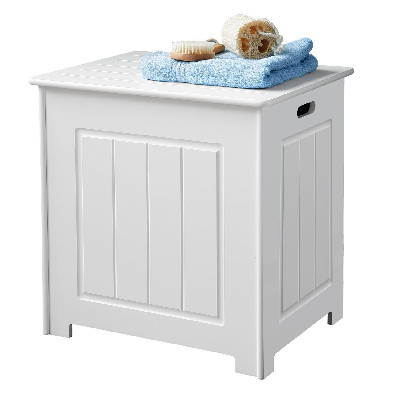 New Storage Chest Cabinet Wood White Basket Laundry Bin