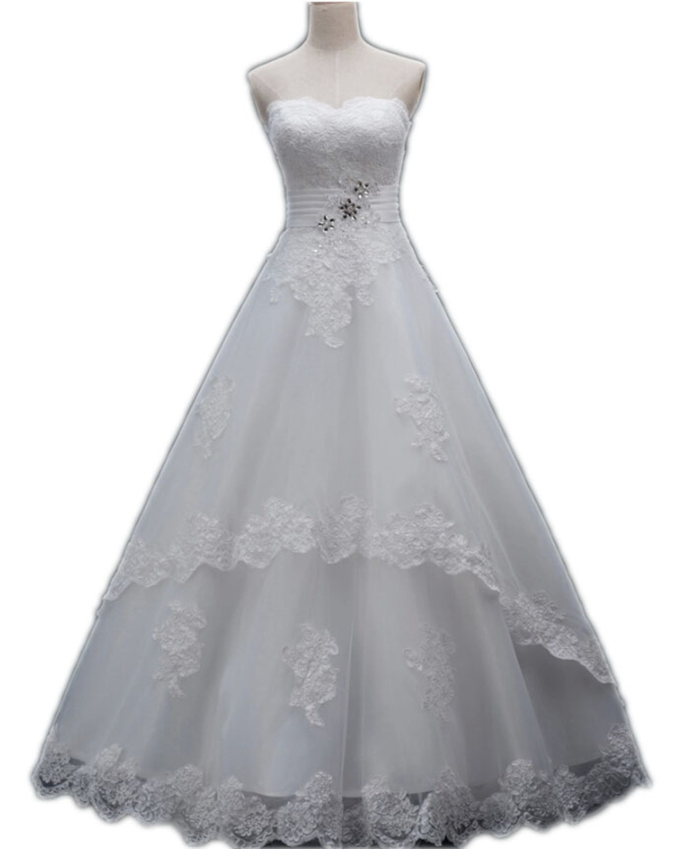 Cheap Wedding Dresses Online Shop 2015 Lace Bridal Gown Sweetheart Lace Up Back Bride Dress