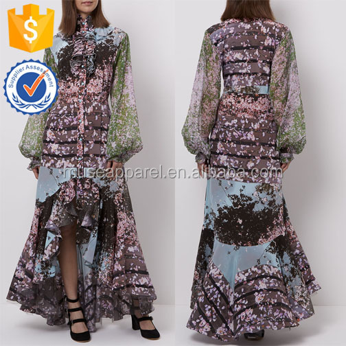 Multi Printed Ruffle Dress OEM/ODM Women Apparel Clothing Garment Wholesaler Ropa Mujer