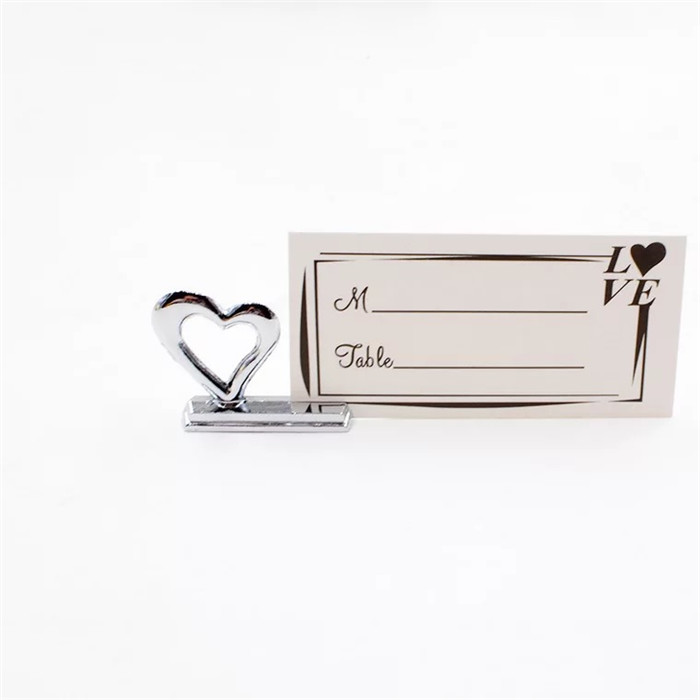 New design love heart metal wedding place card holders