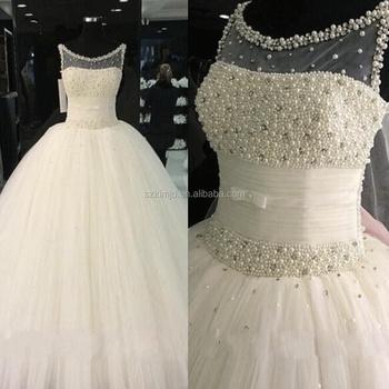 2017 Wedding Dress Bridal Gown With Peals O Neck Elegant Cheap Alibaba Kimjowd004