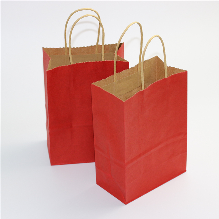 Flat paper handle customized design shopping gift printed kraft paper bag