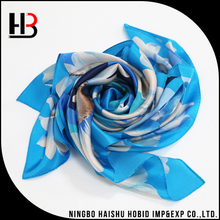 High quality sky blue silk scarf for girls