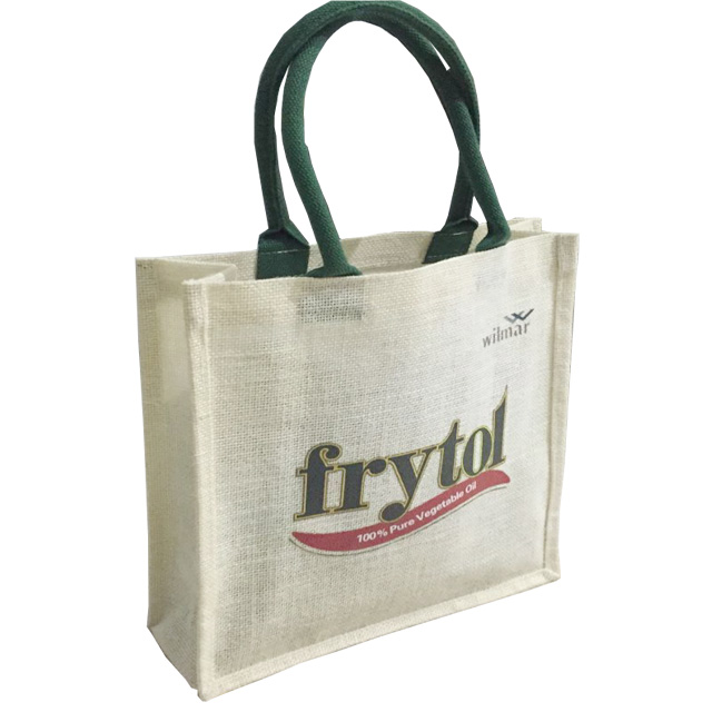 Recycled printing heavy jute shopping bags with logo