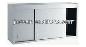 Kitchen Cupboard Stainless Steel Wall Work Cabinet With Sliding Doors