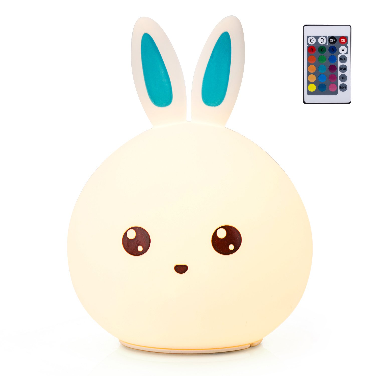 GoLine Remote & Tap Control LED Bunny Night Light, Cute Rabbit Multicolor Kids Baby Nursery Lamp, 5 Light Modes, Static/Breathing/Flashing, Brightness Adjustment, 20-hour Portable Use.(NL012-BE)