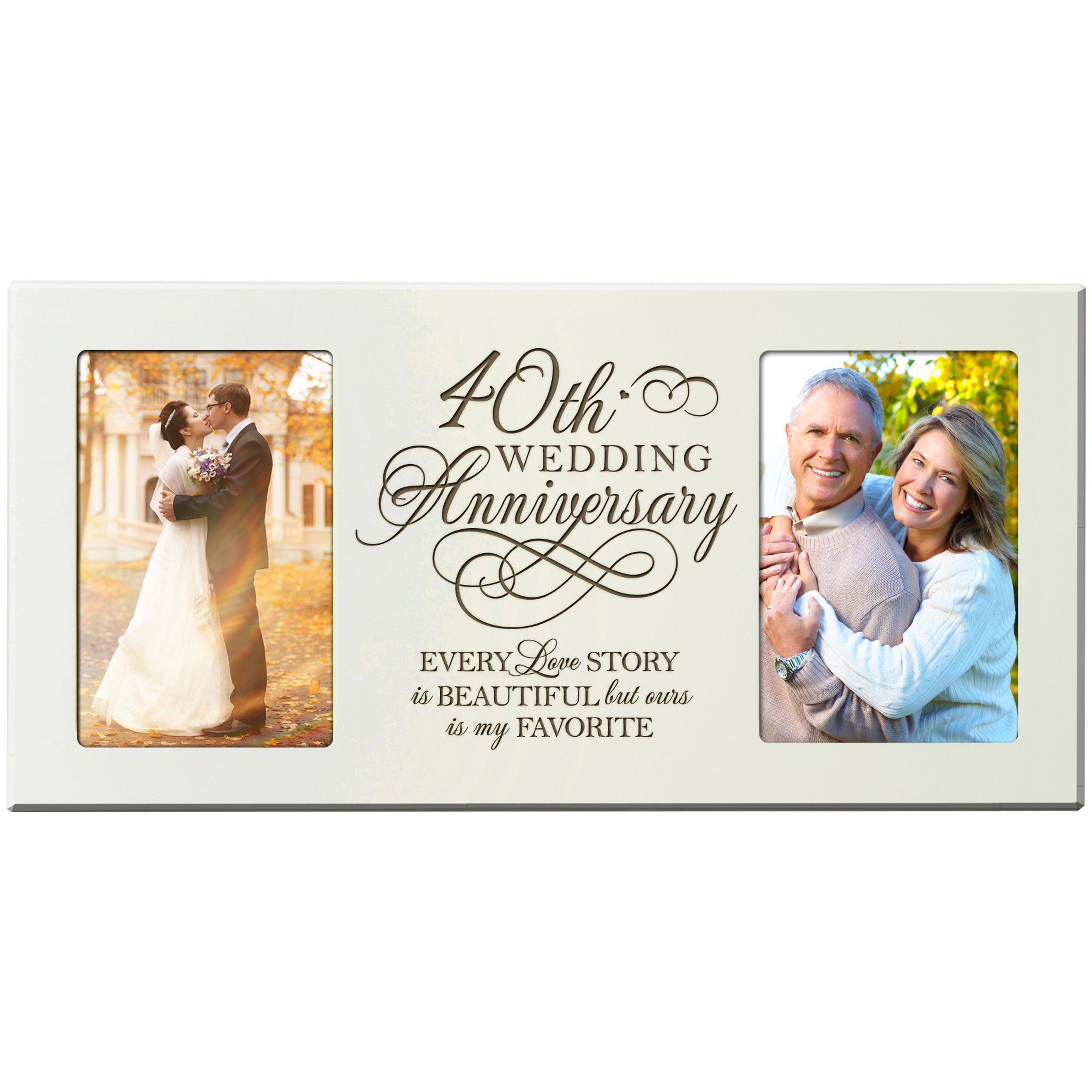 40th Wedding Anniversary Gifts for Couple 40 Year Anniversary Ideas Every Love Story Is Beautiful but Ours Is My Favorite Anniversary Picture Frame Gift for Photo Frame Holds 2- 4x6 Photos (Ivory)