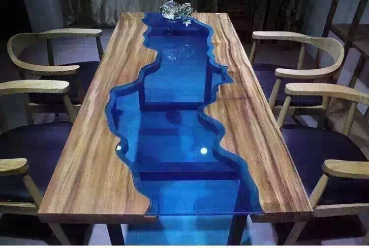 Square Edge Prefinished Glass Inlay Solid Slab Wood Table