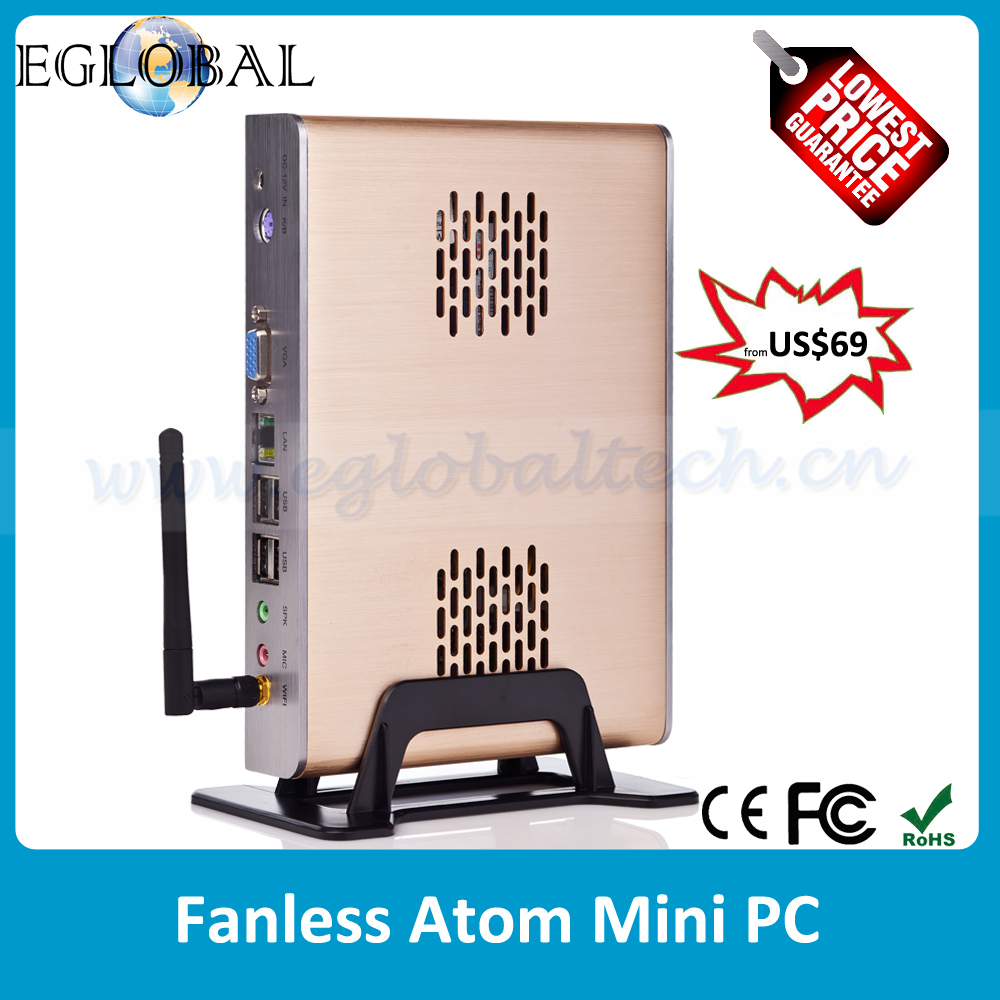 Cheapest Fanless Mini PC X86 12V with Intel Atom Processor Win XP/7 or Linux PC Brushed Aluminum Mini ITX Computer