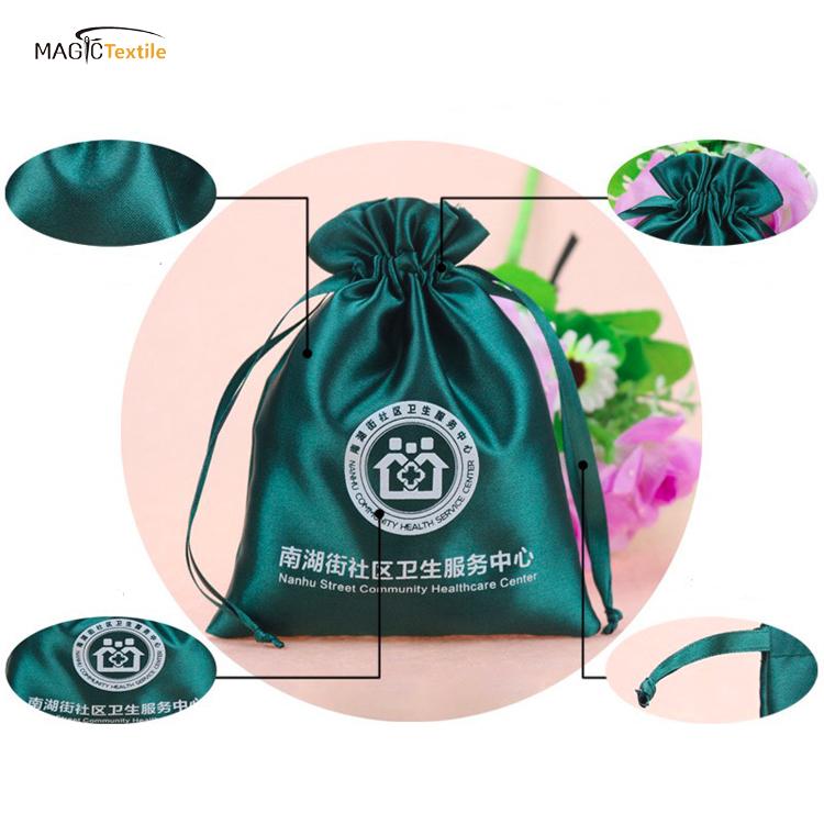 סין מפעל ורוד צבעוני מתנות ארגונית תיק Bowknot תכשיטי סאטן פאוץ עם לוגו
