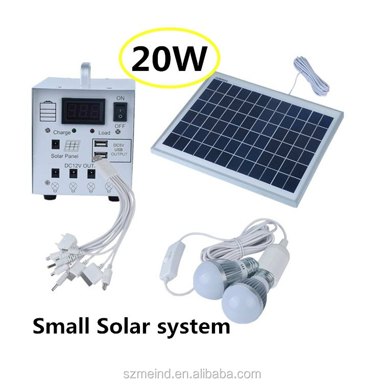 20w portable home solar systems with solar panel & usb charging port, solar lighting
