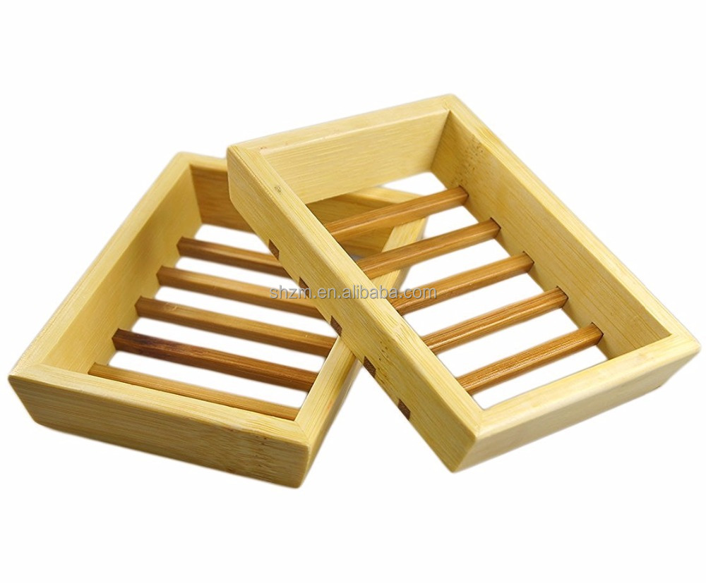 Wholesale Bamboo Shower Soap Dish Set Wood Soap Saver Holder, Natural Case 2 Pack