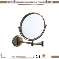 Antique Brass Decorative Vanity Bathroom Makeup Mirror With Light Wall Cosmetic Mirror Extendable Smart Mirror