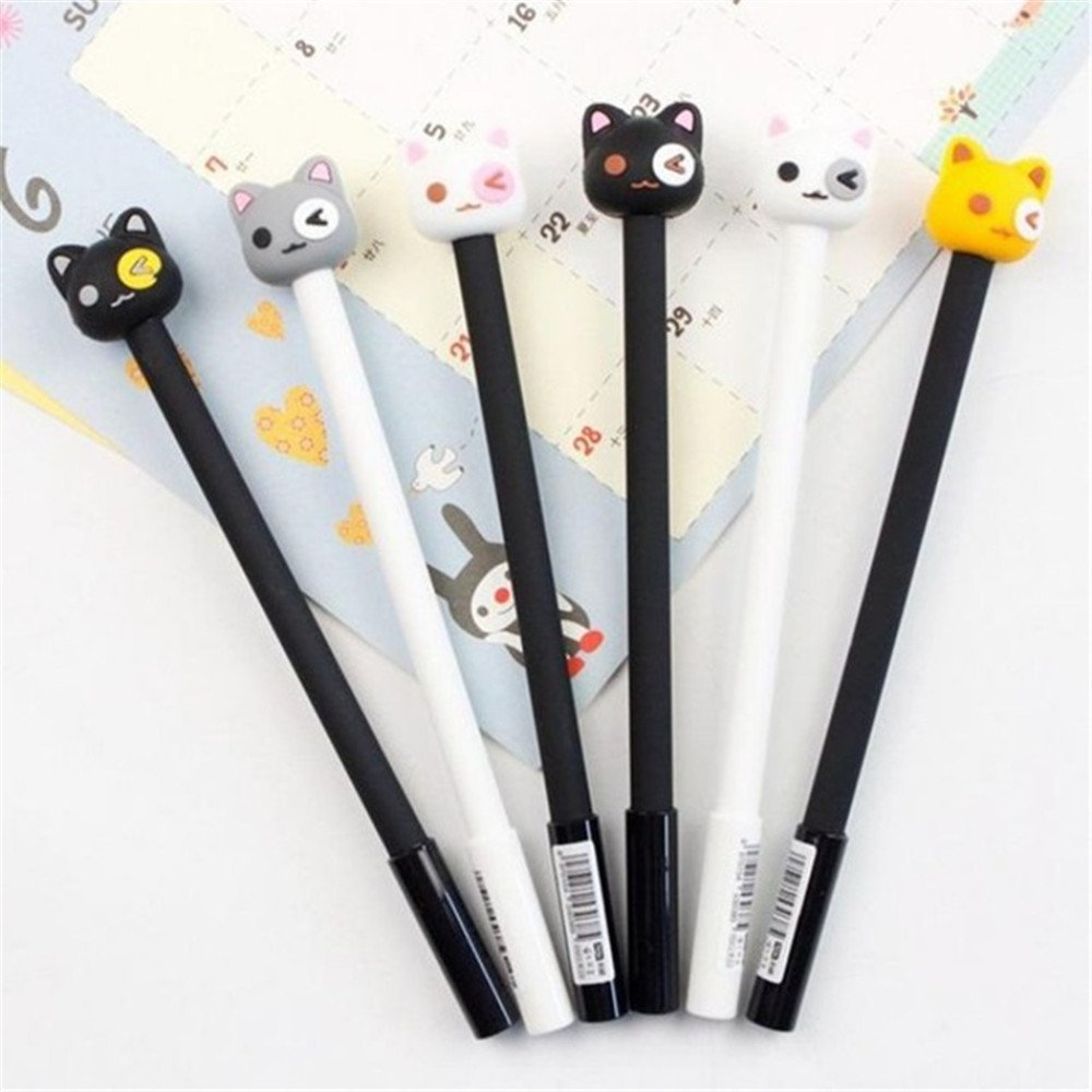 Katoot@ 6 pcs/lot Novelty black white cat gel pen Kawaii 0.5mm black ink pen Korean stationery kids gift office school supplies escolar