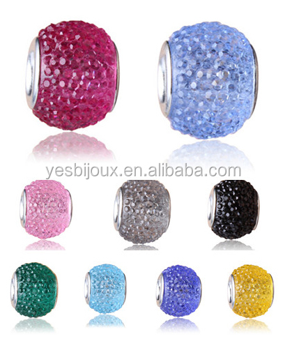 high quality diamante crystal shamballa glass beads for diy bracelet