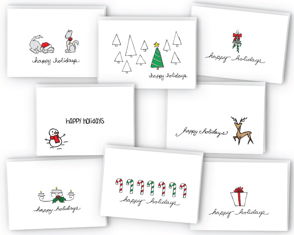 Happy Holidays Greeting Card / Gift Tag Collection - 24 Cards & Envelopes