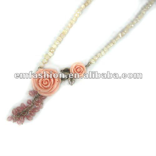 2012 fashion flower costume jewelry flower resin fresh pearl necklace