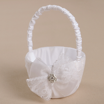 M4125 fantasy or cinderella theme Satin Flower Girl Basket for Wedding with Lovely Bowknots
