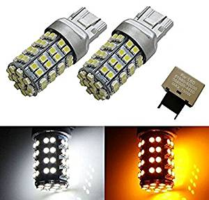 iJDMTOY (2) 60-SMD-3528 White/Amber 7443 Switchback LED Bulbs plus 8-Pin Flasher Fix For 2013-up Scion FR-S Turn Signal Lights