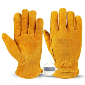 Cheap Split Cowhide Leather Outdoor Work Magnet Gloves Safety