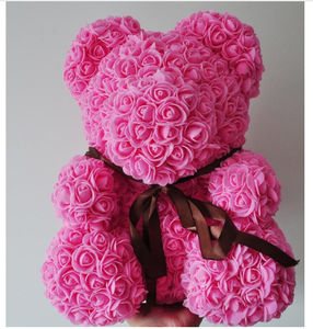 rose teddy bear Artificial Flowers Bear Valentine's Day Birthday Gifts Wedding Decor Preserved Flowers Ribbon Rose Bear Box