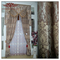Fashionable French Curtain, WINDOW CURTAIN JACQUARD PANEL , CURTAIN SET WITH VALANCE AND BACKING