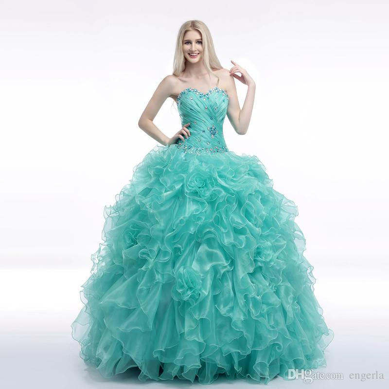 2015 Cheap Sweetheart Crystal Beaded Masquerade Ball Gowns Ruffle Turquoise Quinceanera Dresses