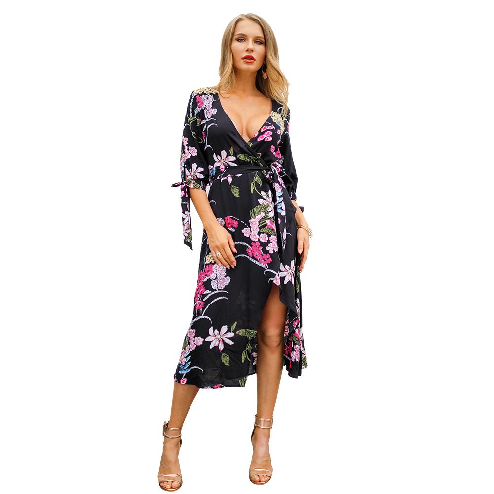 Spring strap cuff chiffon sexy floral print dress bohemian deep V neck wrap maxi floral dress