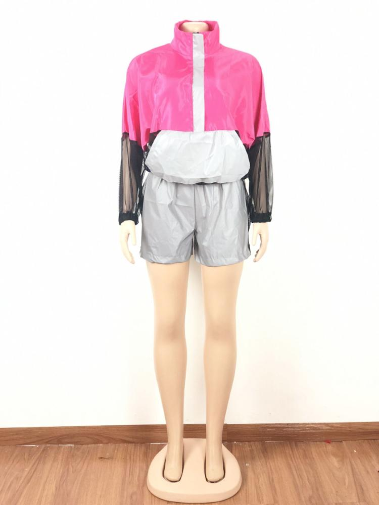 Wholesale OB5239 women boutique fashion reflective top and shorts outfits clothing